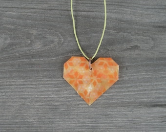 Yellow and Orange Heart Pendant Necklace // Adjustable Cord