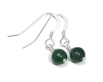 Moss Agate Gemstone Bead Earrings, Sterling Silver Wrapped 6mm Round Ball Dangle Green Jewelry