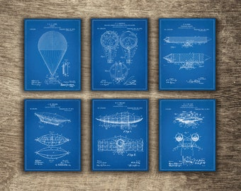 Air Ballon Decor Set of 6 Blueprints, Air Ballon Blueprint. Air Ballon Patent, Air Ballon Poster, Airship Set of 6 Prints - INSTANT DOWNLOAD