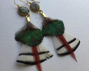 labradorite feather earrings white