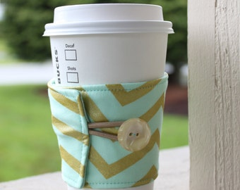 "Coffee Cozy - Metallic Chevron Coffee Cup Cozy - ""Glitz"" Reusable Coffee Sleeve - Gold and Mint Chevron -Gift for Coffee Lover -Shower Favor"