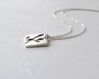 Fine Silver Pendant Necklace, Silver Necklace Leaf Design, Simple Silver Necklace, Metalwork, Artisan Jewelry, Handmade Jewelry Buffalo NY