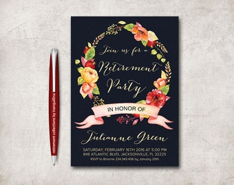 Retirement Invitation Printable, Retirement Party Invitation Navy Floral Retirement Invitation, Printable Retirement Invite, Floral Wreath