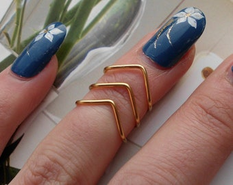 "3 Gold wire Knuckle Ring Adjustable Dainty Ring Set of 3 ""V"" Shape"