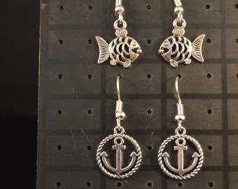 Two Pairs FISH & ANCHOR EARRINGS  Fashion Jewelry  Brand New!  boat sea ocean marine maritime fishing boating sailing swimming  silver color