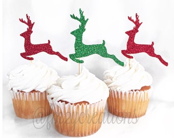 Reindeer Glitter Cupcake Toppers | Cupcake Toppers | Christmas Cupcakes | Christmas Party Decor | Classroom Party Ideas | Cake Topper