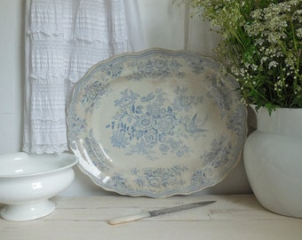 Large antique blue & white Asiatic Pheasants platter or serving plate