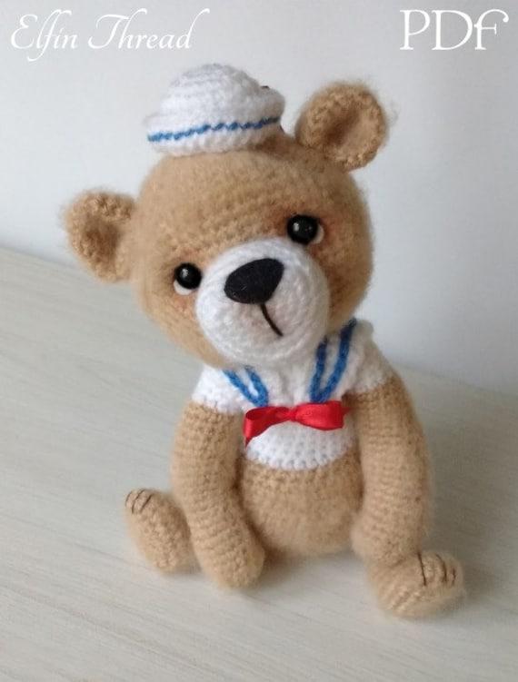 Elfin Thread Bernard the Vintage Sailor Bear PDF Amigurumi