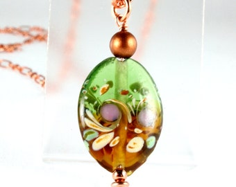 Oval Lampwork Pendant on Copper Chain, Green and Brown, Fall Colors
