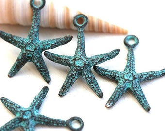 4pc Starfish metal charm, Verdigris Green patina on copper, Seastar, Greek beads, starfish pendant bead - 20mm - F479