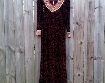 XS Extra Small Vintage 90s Semi Sheer Maroon Burnout Velvet Ethnic Grunge Revival Gothic Indie Maxi Dress