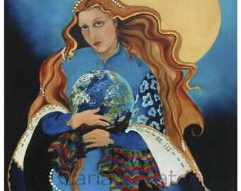 Goddess Art, Mother Earth, Goddess oil Painting, Giclee Print, 11 x 14 inches, Celestial goddess, Earth day, spirit painting, cobalt blue