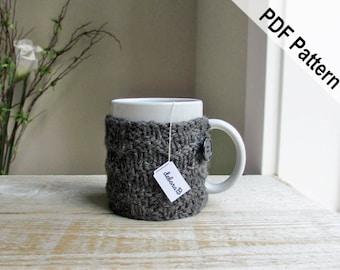 Coffee Cozy PATTERN, Knitting Pattern, PDF Pattern, DIY Gift, Instant Download, Gift for Him, Stocking Stuffer, Chevron Knit Pattern