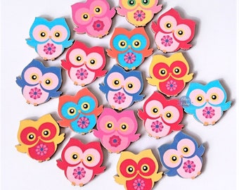 10 owls owls painted 2.4 cm wooden buttons