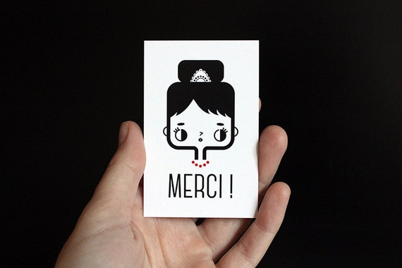 Thank you card in French - Set of 10 - Merci card - cute card - kawaii illustration - minimalist card - black white red - gift
