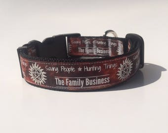 Saving People and Hunting Things The Family Business, adjustable dog collar, glows in the dark, Inspired by Supernatural
