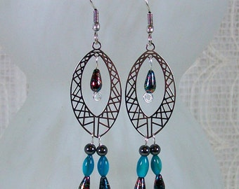 Chandelier Earrings / Silver Earrings / Hematite Jewelry / Long Dangle Earrings / Blue Earrings / Boho Earrings