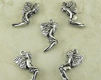 5 TierraCast Leaf Fairy Charm - Fae Sprite Tree People Fantasy Faery Tale - Silver Plated Lead Free Pewter - I ship internationally 2231