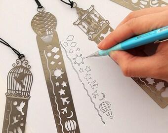 Planner Stencil, Metal bookmark, template Ruler, Journal Stencils, Daily Planner, bullet journal stencil, stencil notebook, planner traveler