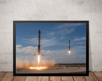 SpaceX Tesla Elon Musk Starman Falcon Heavy Landing Tesla Home Decor Poster Wall Art Living Room Decor Space Poster Digital Print
