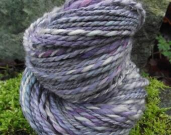 Handspun yarn, Handpainted aran worsted bulky angora Merino wool yarn-Dew