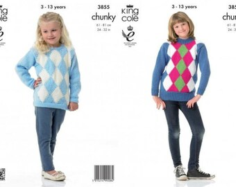 King Cole Children's Sweaters Chunky Knitting Pattern 3855 SIZE 3 - 13 years 2 colour and 4 colour diamond pattern