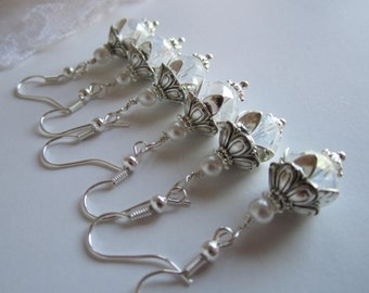 White Bridesmaid Earrings Traditional Wedding Maid of Honor Bridal Party