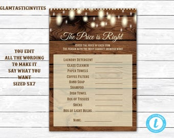 The Price is Right Shower Game Template, Instant Download, Rustic Shower Price is Right, Digital file, DIY Shower Game, DIY, Price is Right