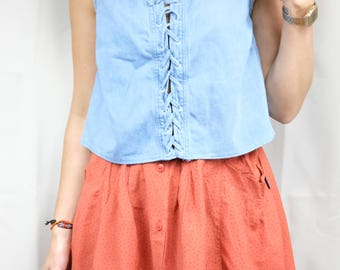 Denim crop top with front drawstring / Chambray shirt / Reclaimed vintage clothing / Size M / US 8 10 / UK 12 14 / EU 40 42