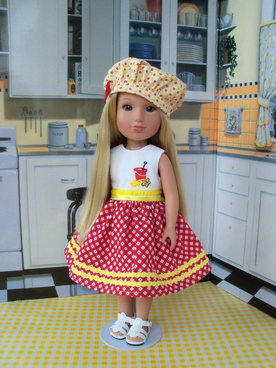 Dress, Hat & FREE SANDALS / Like Wellie Wisher Doll Clothes/ Fits Glitter Girl Doll Clothes, H4H, Les Cheris /14 Inch Dolls Clothes