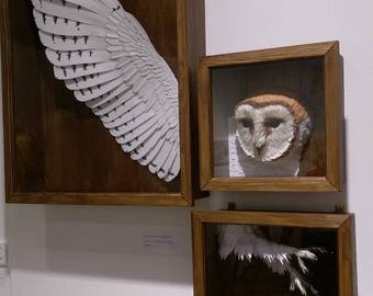 The Lady of the Barn. Three Part Paper-cut Barn Owl Sculpture. 1:1 Scale.  2017.