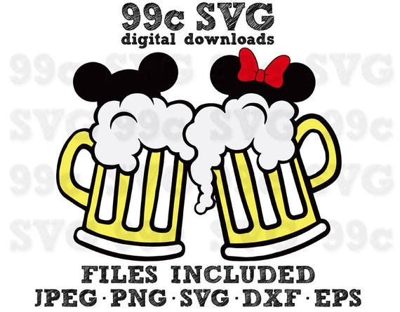 Mickey Minnie Beer Mugs Svg Dxf Png Vector Cut File Cricut