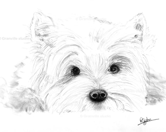 West Highland Terrier Dog Limited Edition Signed Art Print