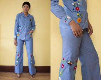 Vintage 70's Embroidered Chambray Two Piece Pant Suit // Separates Bell Bottoms + Shirt