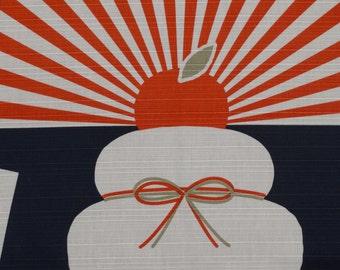 Small Size Cotton 'Mochi and the Rising Sun' Furoshiki Japanese Fabric w/Free Shipping