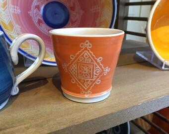 Orange Porcelain Carved Juice Cup