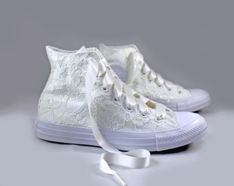 Ivory Lace High Top Converses --Bridal Converses -- Wedding Tennis shoes  - Wedding Converse High Top-- Custom Converses