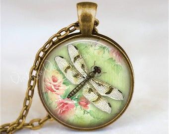 DRAGONFLY Pendant Necklace, Dragonfly Jewelry, Insect Jewelry, Glass Photo Art Pendant, Insect Jewelry, Glass Bezel Necklace