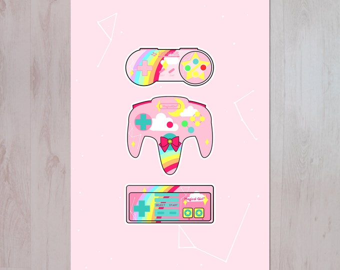 Gamer Girl, Nintendo X Sailor Moon Inspired Illustration A3 Archival Fine Art Print