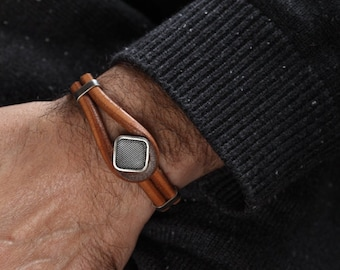Leather Bracelet Mens with Sterling Silver Accents