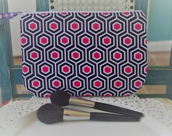 Medium Cosmetic Pouch Navy and Pink Geometric Print...Cordelia Collection