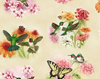 Elizabeths Studio - Hummingbirds - Hummingbird Floral - Cream - Fabric by the Yard 4317E-CRM