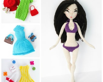 PATTERN Deal - Doll Jessica Body and 3x Clothes, , amigurumi crochet doll, crochet doll pattern, amugurumi pattern