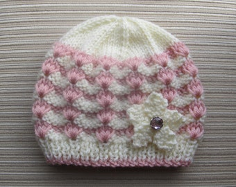 Instant Download Knitting Pattern #84 White and Pink Hat in Sizes  12 months and 2-4 years