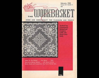 The Workbasket - Vintage Craft Magazine c. February 1958 - Number 5 Volume 23 - Craft Patterns - Knitting - Crochet - Sewing - Needle Craft