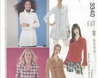 Misses Tunic Long Shirt Princess Seams Front Button Side Slits Sleeve Variations McCalls 3340 Size 8 10 12 14 Bust 31 32 34 36