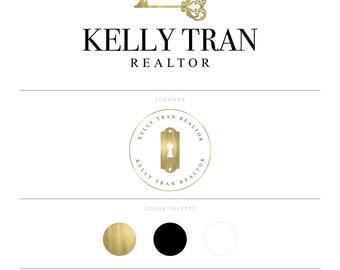 Gold Real Estate Logo Design Realtor Logo Key Logo Watermark Realtor Marketing Real Estate Agent Real Estate Branding Package Broker Logo