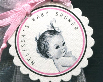 Personalized Baby Girl Baby Shower Favor Tags, Baby Girl Vintage, Set Of 60 Round Scallop Tags
