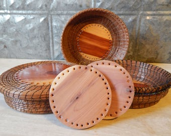 Pine Needle Basketry - Matching Pair of Cedar Starter Rounds (#24A&B) for making a Pine Needle or any Coil Woven Basket