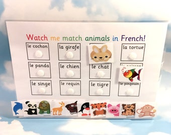 French animals learning sheet, KS1, Teaching resource, Educational toy, Homework, Visual learners, French lesson
